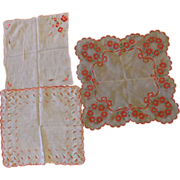 Red Christmas Bells Roses Poinsettias Floral Embroidered Ladies' Handkerchiefs