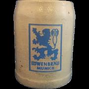 Lowenbrau Munich Salt Glazed Beer Stein .5L Blue Grey