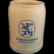 Lowenbrau Munchen .5L Salt Glazed Beer Stein Germany