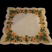 Fall Colors Print Handkerchief Cotton Lawn Scalloped Hem