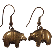 Silver Tone Zuni Style Bear Earrings Dangles
