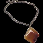 Agate Slice Pendant Necklace Orange Red