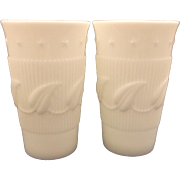 Fostoria Betsy Ross Wistar Milk Glass White Iced Tea Tumblers Pair