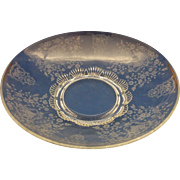 Elegant Etched Glass Floral 12 IN Console Serving Bowl Scallop Foot Base