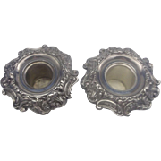 Sterling Silver Floral Repousse Candle Holders Taper Pair