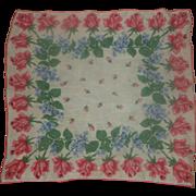 SALE PENDING Pink Roses Cotton Lawn Handkerchief