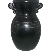 L.E. Smith Black Amethyst Depression Glass Urn Vase Double Scroll Eared Handles Silver Bands