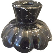 LE Smith Black Amethyst Depression Glass Candle Holder Confetti White Paint Spatter