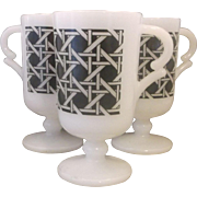 Federal Glass Pedestal White Milk Glass Mugs Black Woven Cane Decoration