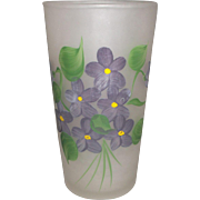 Gay Fad Hazel Atlas Satin Glass Hand Painted Violets Tumbler