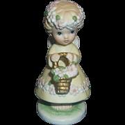 Eve Rockwell Hand Painted Angel Flower Girl Porcelain Figurine George Good Corp