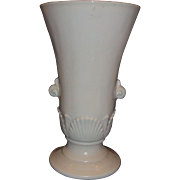 Anchor Hocking Vitrock Seashell Art Nouveau Urn Vase Cream Ivory Milk Glass