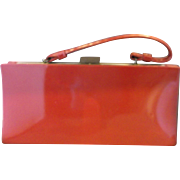 Red Patent Vinyl Long Trapezoid Box Purse