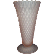 SALE Pink Satin Frosted Glass Diamond Point Pattern Vase Indiana Glass