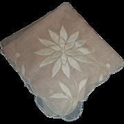 Pink Cotton Handkerchief Ladies White Flower Embroidery
