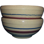 SALE PENDING Robinson Ransbottom Terra Coupe Soup Cereal Bowls Tan Burgundy Blue Stripes