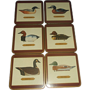 SOLD Pimpernel Antique Decoy Ducks Geese Art Coaster Set Cork Backed New in Box