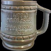 Frankoma Little White House Warm Springs GA Souvenir Mug Woodland Moss Brown Green Glaze