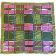 Vera Neumann Green Pink Plaid Silk Rayon Blend Scarf