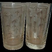 Noritake Sasaki Crystal Cut Bamboo Glass Flat Bottom Tumblers Pair 5 IN Highball Glasses