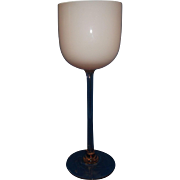 Carlo Moretti Pink White Cased Glass Tall Goblet Wine Stem