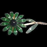 Green Blue Enamel Flower Power Pin