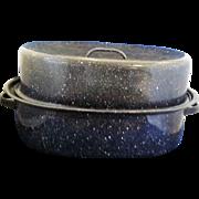 Cobalt Blue White Speckled Graniteware Roaster Roasting Pan 14 IN
