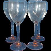 Luminarc Rose Pink Goblets Stems Set of 4 Arcoroc France Glass Claret Wine 7 3/4