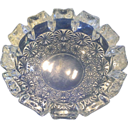 Clear Pressed Glass Cigar Ashtray Flower Daisy Pattern 6 IN
