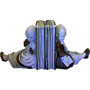 Boy Girl Pair White Porcelain Gold Accents Colonial European Dress Bookends