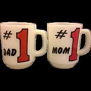 Fire King #1 Mom #1 Dad Milk Glass Mugs Pair Red Black