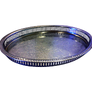 Chrome Plated Oval Serving Tray Pierced Side Wall Engraved Scrollwork