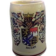 Bayern Coat of Arms Decorated Original King Beer Stein .5L Western Germany