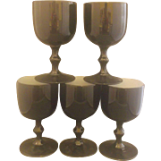 Carlo Moretti Cased Glass Black Goblets Made in Italy Set of 5 Water Wine