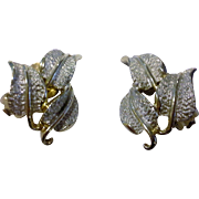 Emmons Leaf Earrings Silver Gold Tone Clip Backs