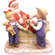 Homco Denim Days Santa's Visit Figurine Santa Sled Boy Girl Overalls Porcelain