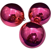 """Shiny Brite Hot Pink Blown Glass 2 1/4"""" Set of 3 Ball Ornaments"""