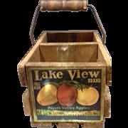 Lake View Brand Pajaro Valley Apples Wooden Divided Basket Advertising