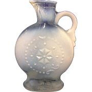 Jim Beam Royal Opalescent Clear White Glass Liquor Bottle Decanter Pressed Flower No Stopper 1