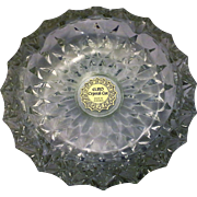 Euro Crystal Cut Cigar Ashtray Large Heavy Faceted Diamond Point Made in Romania