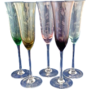 Etched Tulips Colored Champagne Flutes Glass Pink Green Blue Amber Purple