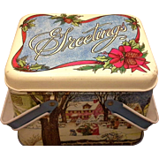 Cheinco Christmas Greetings Lithographed Tin Basket Winter Scene