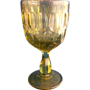 Fenton Colonial Green Thumbprint Wine Glass 5 IN