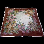 Brown Edge Fall Colors Floral Cotton Lawn Handkerchief Hanky Ladies