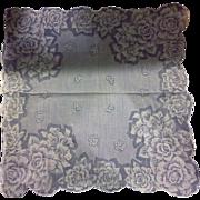 White Roses Printed Scalloped Handkerchief Hanky