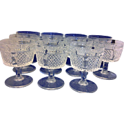 Fostoria Diamond Point Sherbet Low Champagnes Set of 11