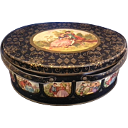 Fragonard Scene Black Gold Oval Tin Double Handle Basket Sewing Lunch Picnic