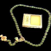 Irish Rosary St Patrick Green Glass Shamrock Beads Handmade Celtic Cross