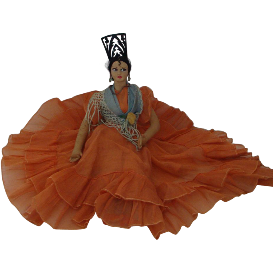 1930's;  Handmade Flamenco Dancer  Doll