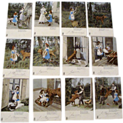 """1902: Hand Tinted Photography Story Set of """" Little Red Riding Hood """" Kunzil Freres"""
